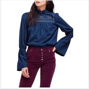 free people eternity cotton bell-sleeve top navy